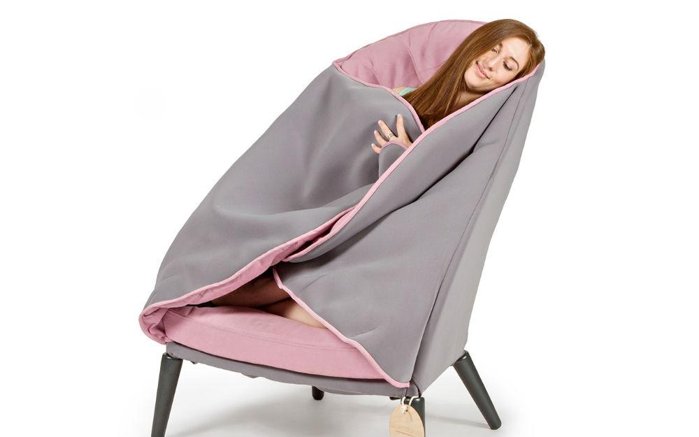 Deze stoel en deken in n is de ideale stoel voor