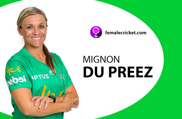 Mignon Du Preez. Women's T20 World Cup 2020
