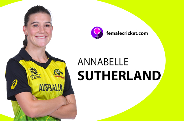 Annabelle Sutherland. Women's T20 World Cup 2020