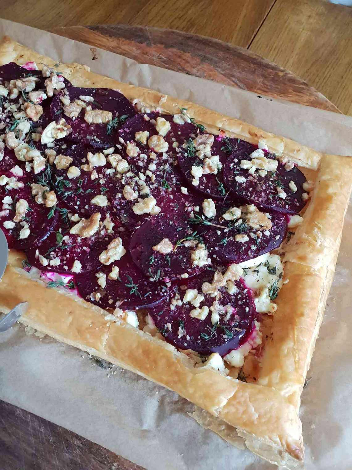 A beetroot and feta tart.
