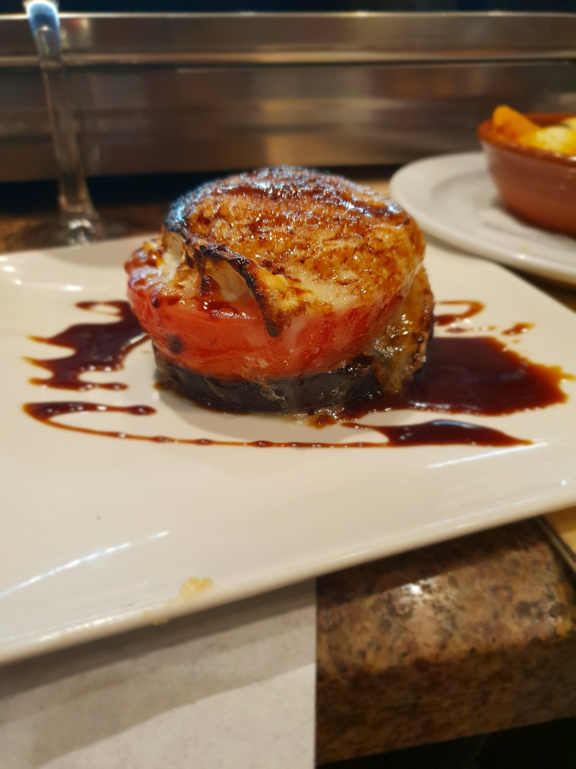 goats cheese tomato and aubergine stack