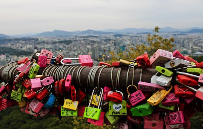 The love locks at the bottom of Namson Tower, exploring Seoul