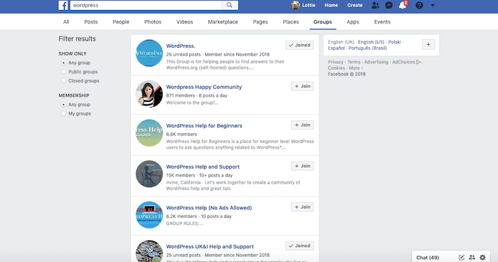 Wordpress support groups on Facebook