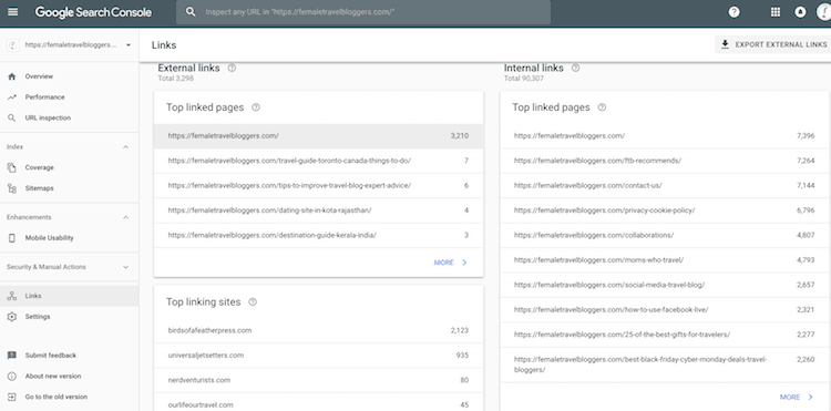 Google search console linking