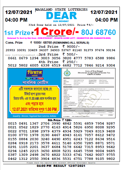 Nagaland State Lottery Result Live Today 13-7-2021