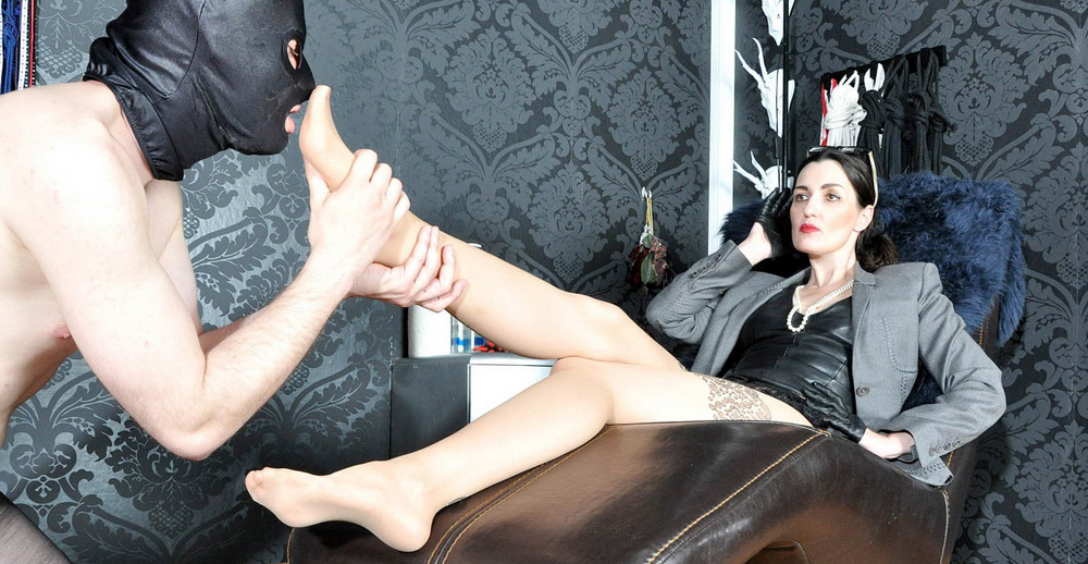 Foot Worship Femdom Humiliation Of Pantyhose Slave In Chastity