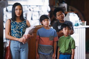 "In this image released by ABC, Constance Wu, from left, Forrest Wheeler, Hudson Yang and Ian Chen appear in a scene from the new comedy series ""Fresh Off the Boat,"" previewing Wednesday with episodes at 8:30 p.m. and 9:30 p.m. EST. (AP Photo/ABC, Jordin Althaus)"