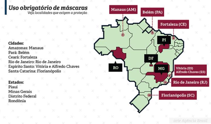 Mapa mostra estados e cidades onde o uso de máscaras é cumpulsório.