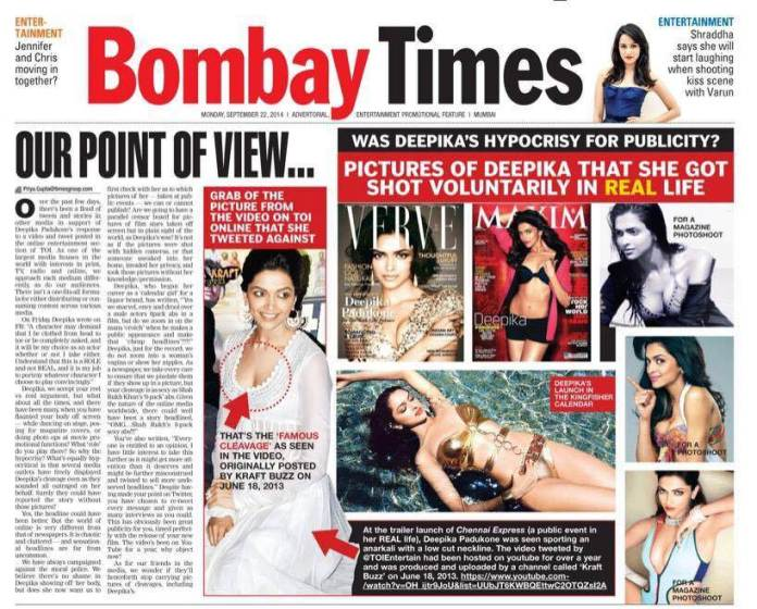 Front page of Bombay Times, supplement of Times of India, 22.09.2014