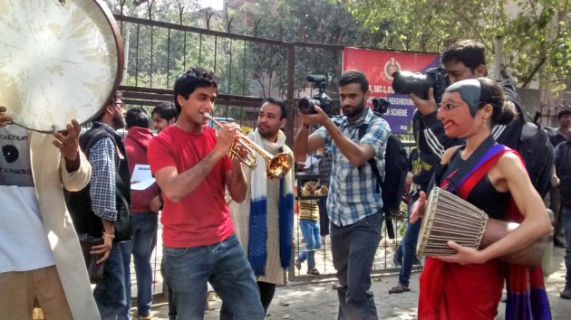Protesters dancing, singing, making merry at Mandir Marg.