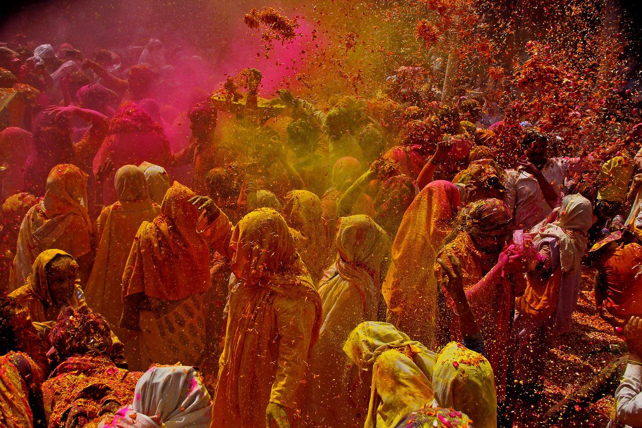Widows of Vrindavan play Holi