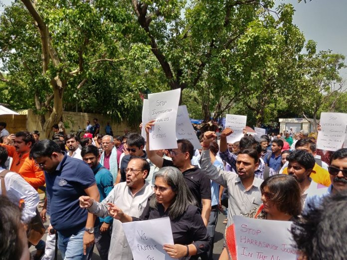 Journalists In Delhi Protest Against Illegal Arrest of Prashant Kanojia