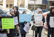 University of Toronto students protesting outside the Indian Consulate