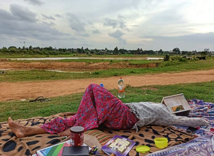 Women at Leisure: Surabhi relaxing during a picnic outing with friends.