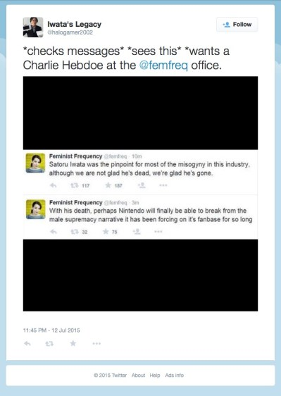 071215 - Iwata's Legacy on Twitter- %22*checks messages* *sees this* *wants a Charlie Hebdoe at the @femfreq office. http---t.co-8W0ygPiID3%22