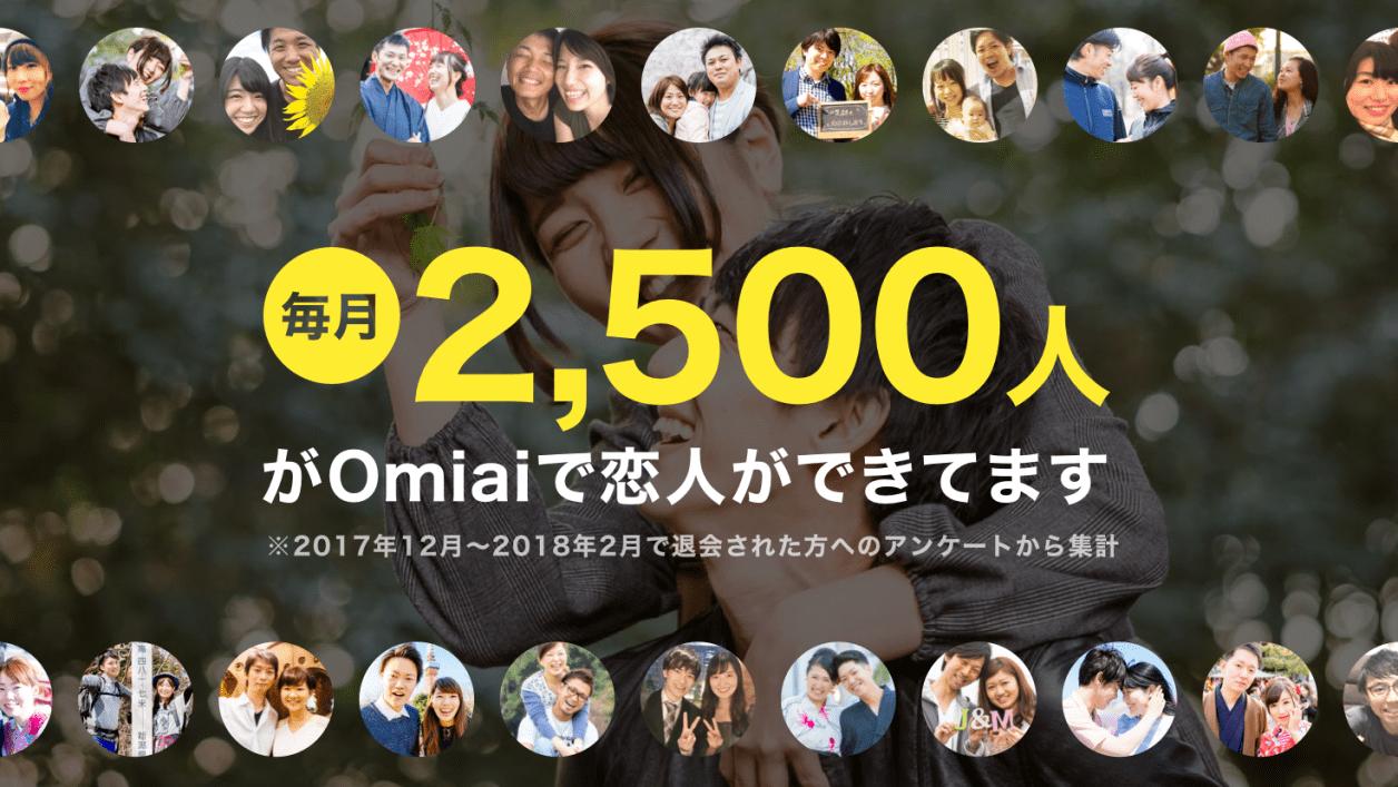 Omiaiは毎月2,500人以上のマッチングできている