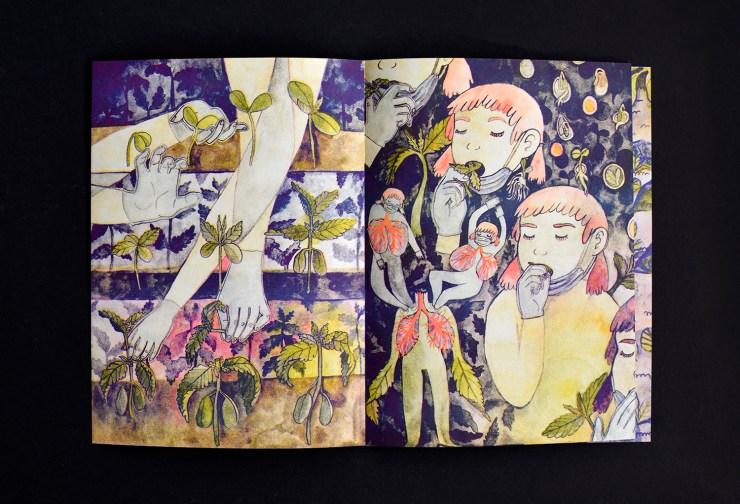 fruit/soil risograph publication by Kimberly Edgar