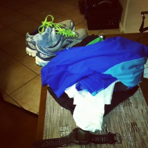 My Pile of Clothes Set Out The Night Before a Early Morning Run