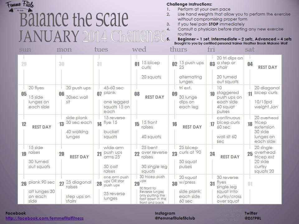 January 2014 Challenge Calendar
