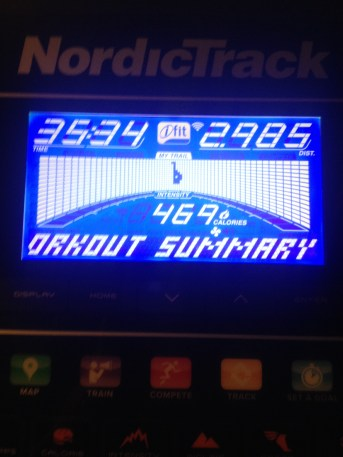 Treadmill workout summary