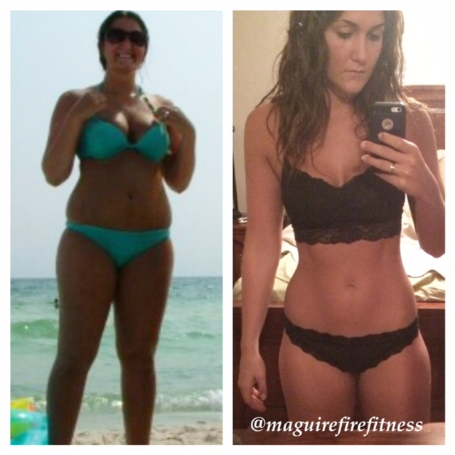 Stephanie Maguire of Maguire Fire before and after in a bikini #bikini #transformationtuesday #beforeandafter #weightloss #bikinicompetition