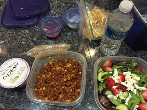 #Lunchboxrollcall Turkey Chili, Salad, Yogurt and granola