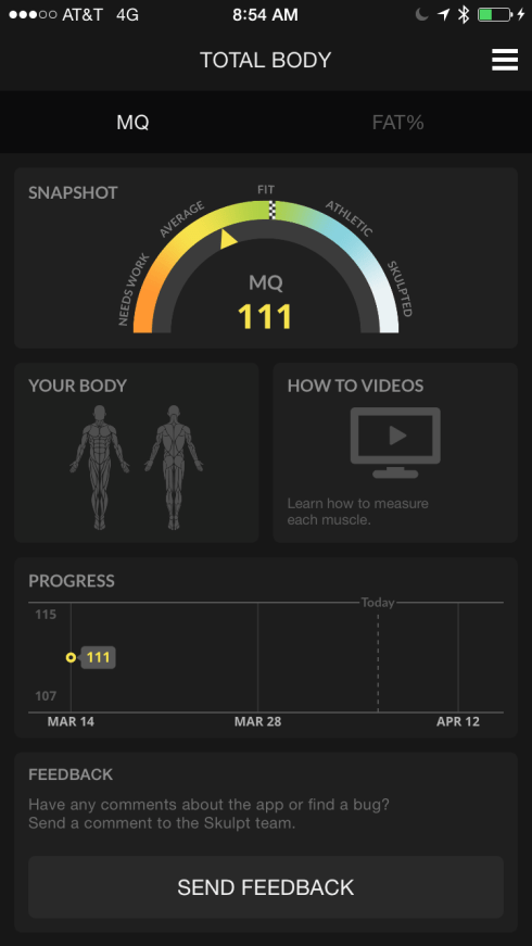 Overall Skulpt Aim Muscle Quality Snapshot