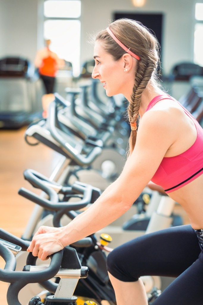 woman on spin bike tabata