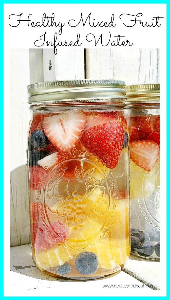 healthy-mixed-fruit-infused Major Reasons to Drink Water + spa water recipes #spawater #detox #waterdetox #watercleanse #cucumberwater #infusedwaterrecipe #drinkwater #water #hydration #hydrationnation