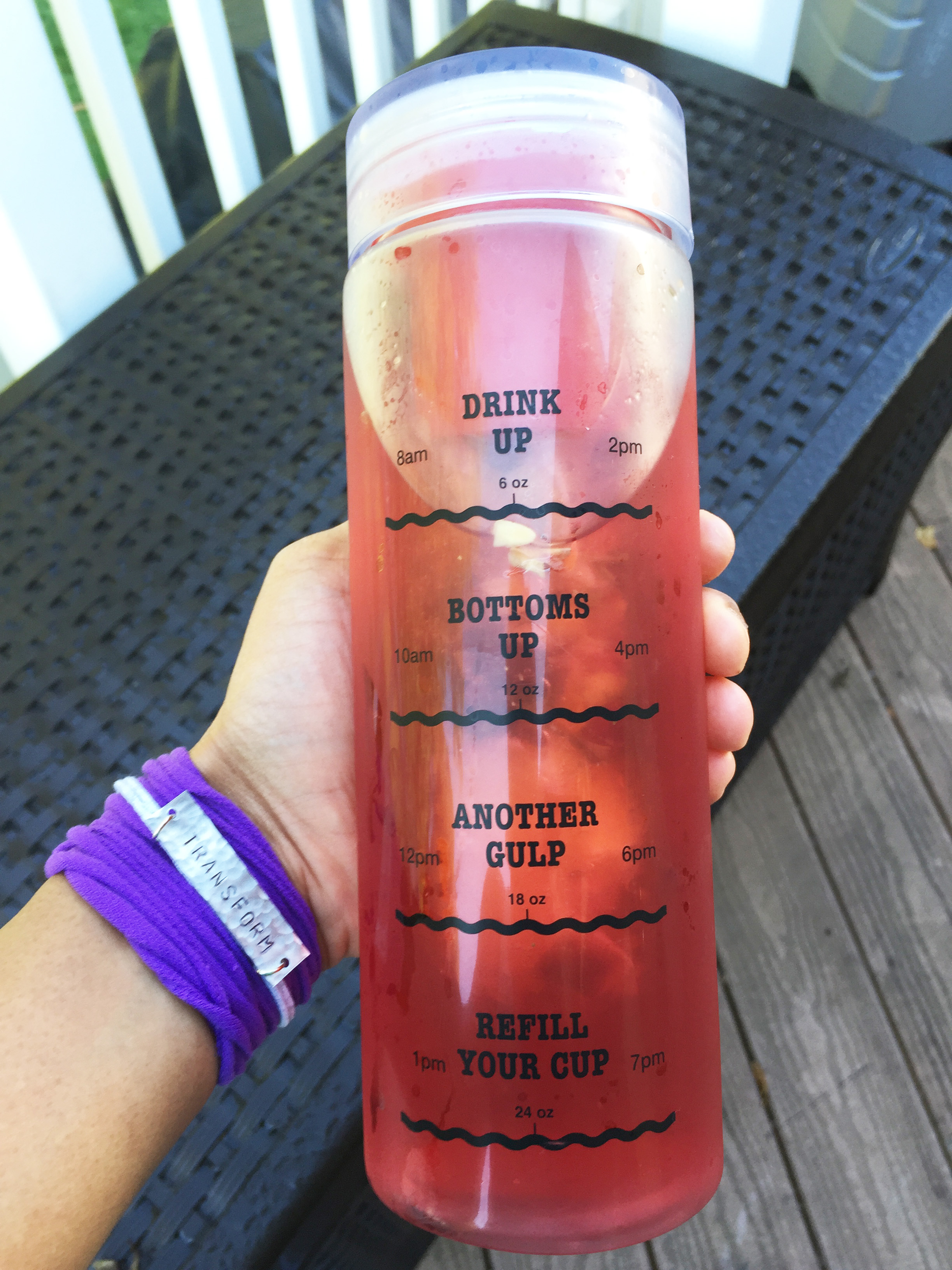 Infusion Water Bottle with Drink Tracker and mantra bracelet