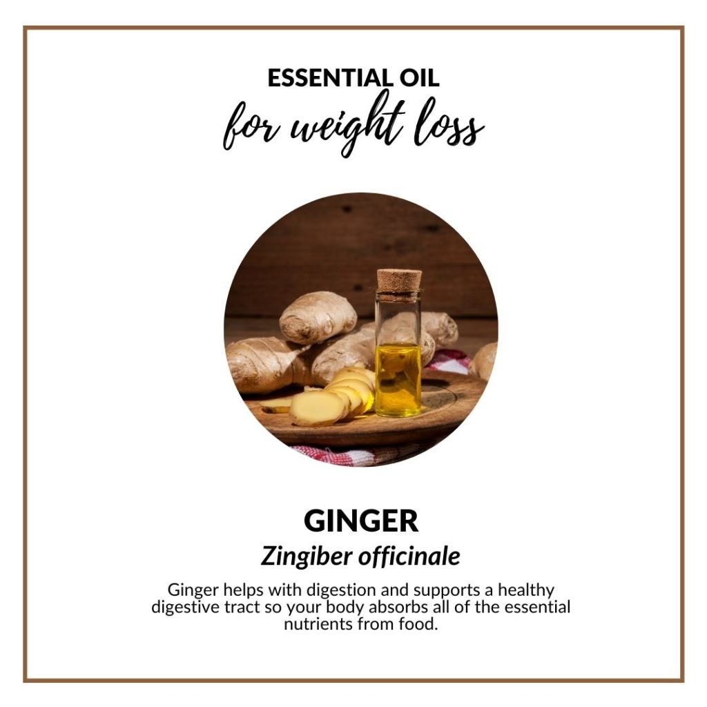 Ginger helps with digestion and supports a healthy digestive tract so your body absorbs all of the essential nutrients from food. #gingeressentialoil #digestion #essentialoilforweightloss #selfcare #wellness