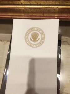 White House paper towels with the Presidential seal