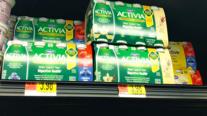 Activia dailies on the shelf at walmart