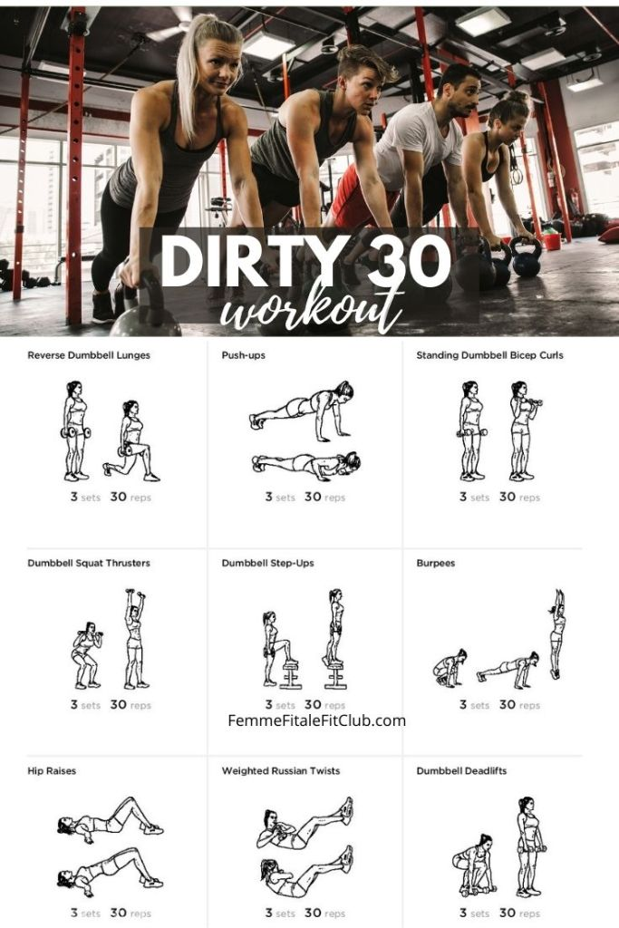Rev up your metabolism and burn mega carbs and fat calories with this Dirty 30 Workout Plan designed to push and tone your entire body.  #hiit #dirty30 #exerciseprogram #athomeworkout #homegym #workoutforwomen #workout #totalbodyworkout #fullbodyworkout #athomeworkout