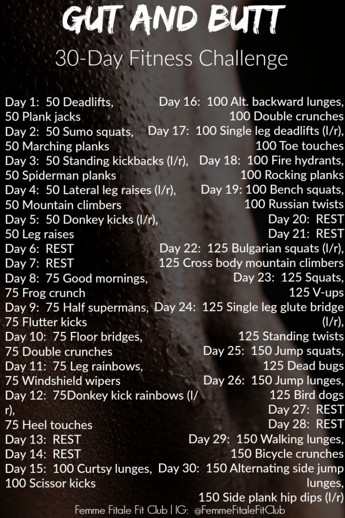 Gut And Butt 30-Day Fitness Challenge #summertimefine #bootylicious #gutandbutt #femmefitalefitclub