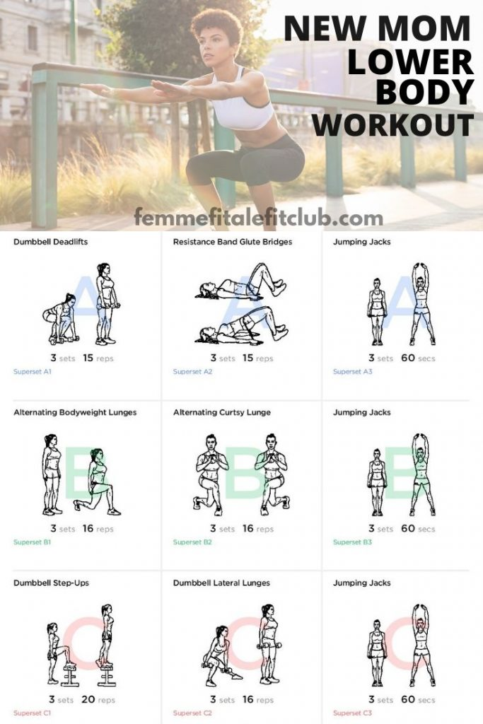 Can't make it to mommy and me fitness classes?  Then try this lower body workout because as a new mom you need strength in your lower body to help lift babies and small children. This workout helps build strength and shape your legs, hamstrings, glutes and thighs. #momsintofitness #exercise #postpartum #postnatal #momsfitness #newmommyworkout #newmomworkout #lowerbodyworkout #bootyworkout