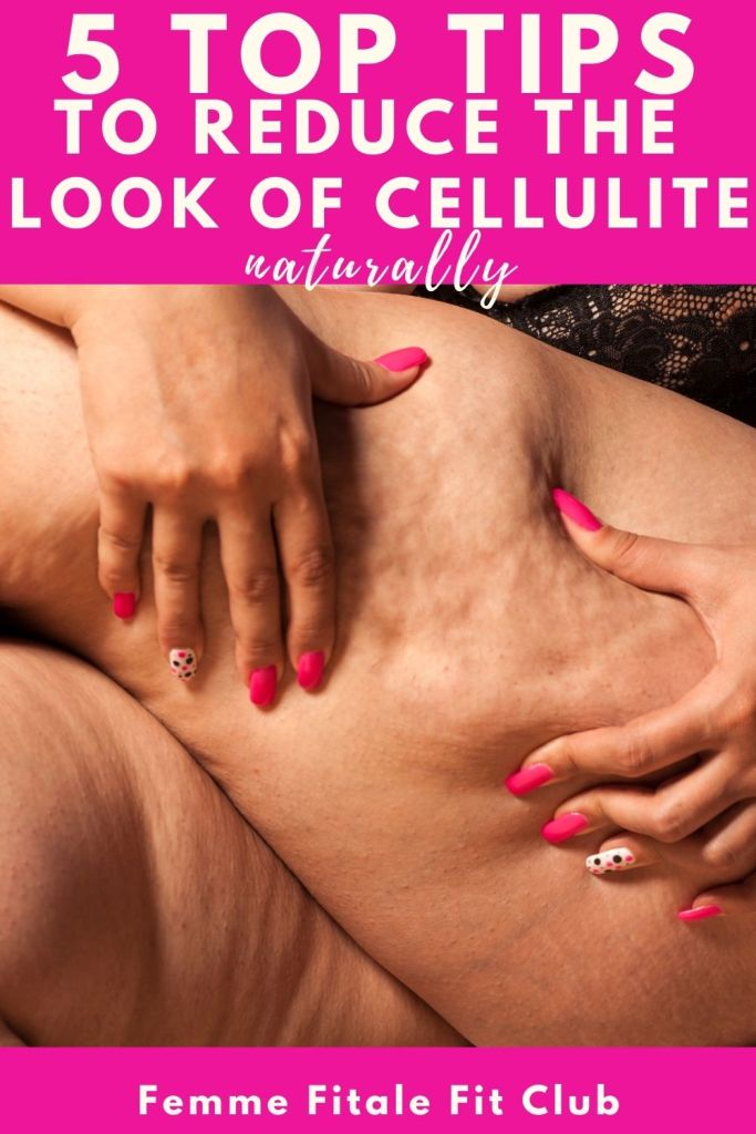 If you are dealing with annoying cellulite lumps on your thighs, buttocks and legs here are 5 tried and true tips to help reduce the look of cellulite naturally #cellulitebuster #cellulite #womenshealth #weightlossforwomen