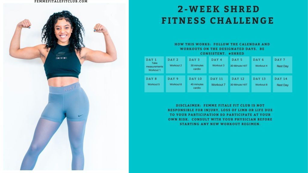 Want to get shredded for the season or a special occasion?  Then follow this fun challenge for 14 days and get your body tight and toned. #tightandtoned #14dayfitnesschallenge #2weekfitnesschallenge #challengecalendar
