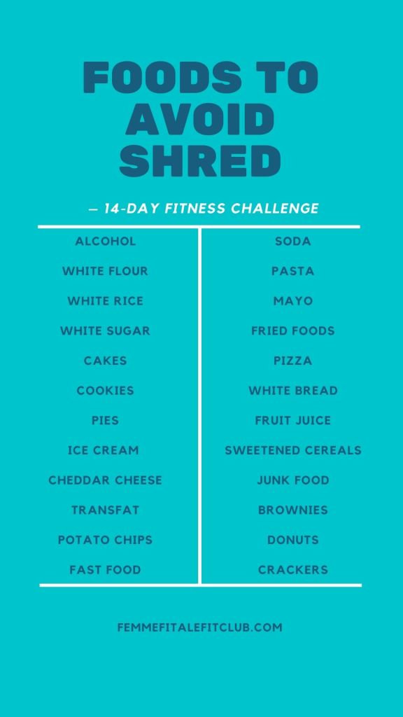 Want to get shredded for the season or a special occasion?  Then follow this fun challenge for 14 days and get your body tight and toned. #tightandtoned #14dayfitnesschallenge #2weekfitnesschallenge #challengecalendar #foodstoavoid #nosugar