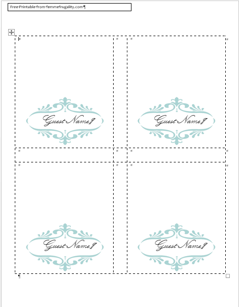 place cards word template