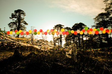 Dochula - the balloons and prayer flags