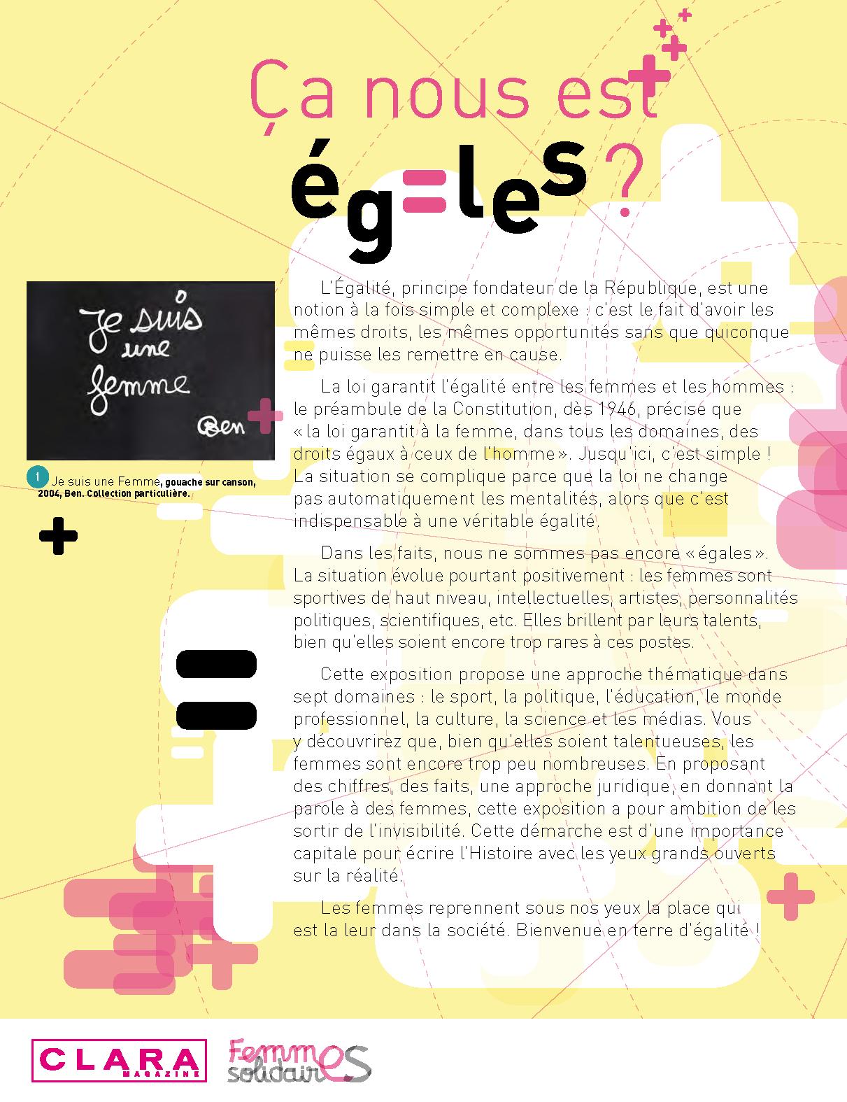 """Valence – Présentation de l'exposition """"ça nous est égales"""" à l'occasion de la journée internationale des droits des femmes"""