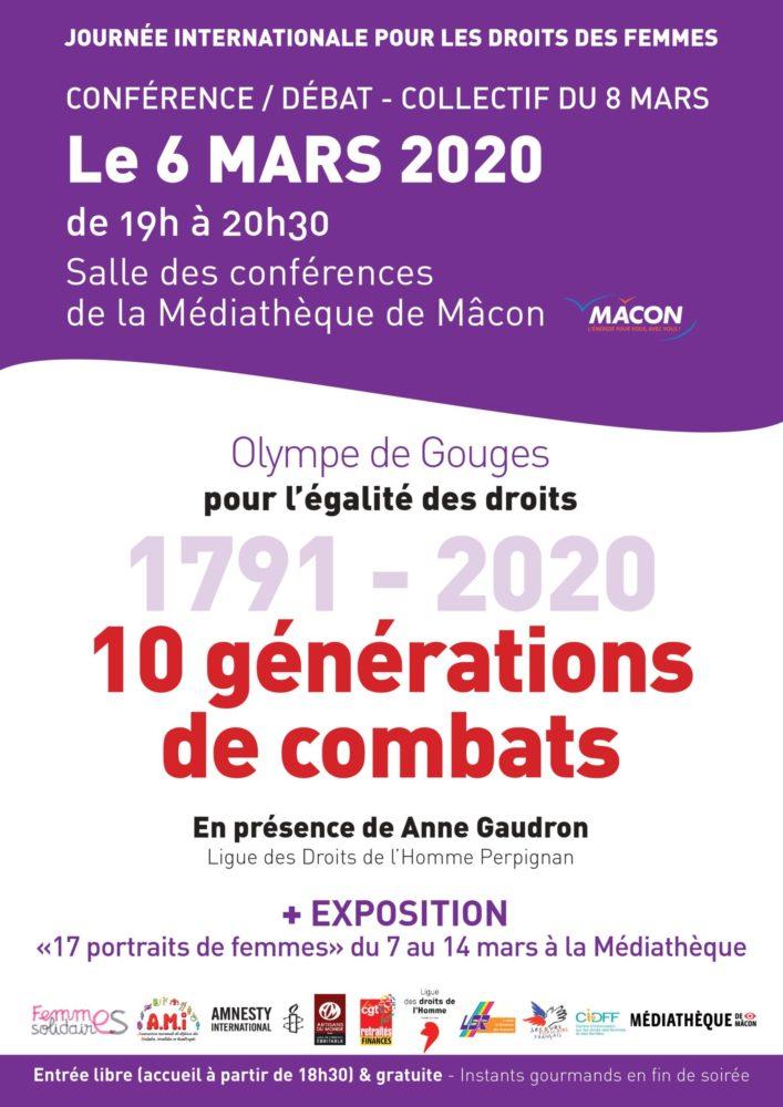 """Mâcon – Conférence/débat """"Olympe de Gouges, pour l'égalité des droits 1791- 2020, 10 générations"""""""