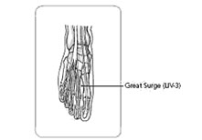 acupressure point 2 for menstrual cramps: great surge LIV-3 between toes