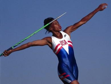 Portrait of Jackie Joyner-Kersee of Team USA posing with a javelin. Northridge, California 5/21/1992 (Image # 1016 )