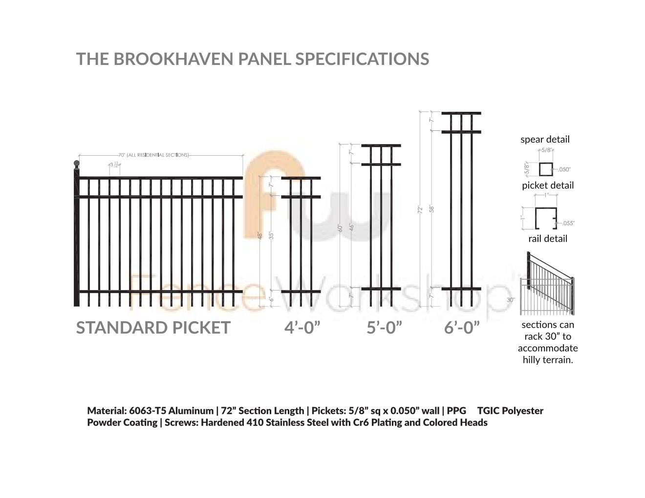 hight resolution of brookhaven fence specs