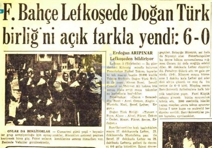 """3 Haziran 1959 : Fenerbahçe İlk Kez Kıbrıs'ta.. """"Yavru Vatan"""" Sarı-Lacivert"""