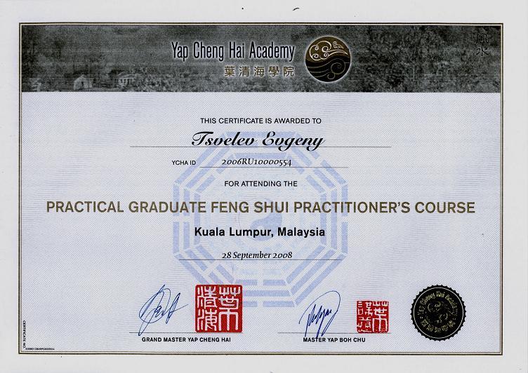 диплом академии Yap Cheng Hai