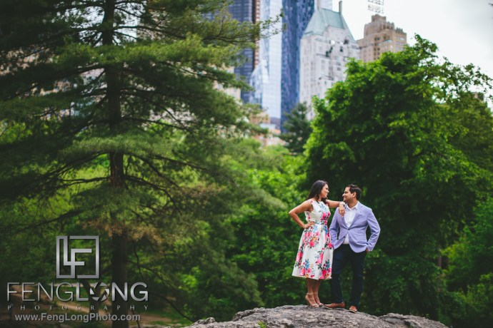 New York City Engagement in Central Park for Indian Wedding