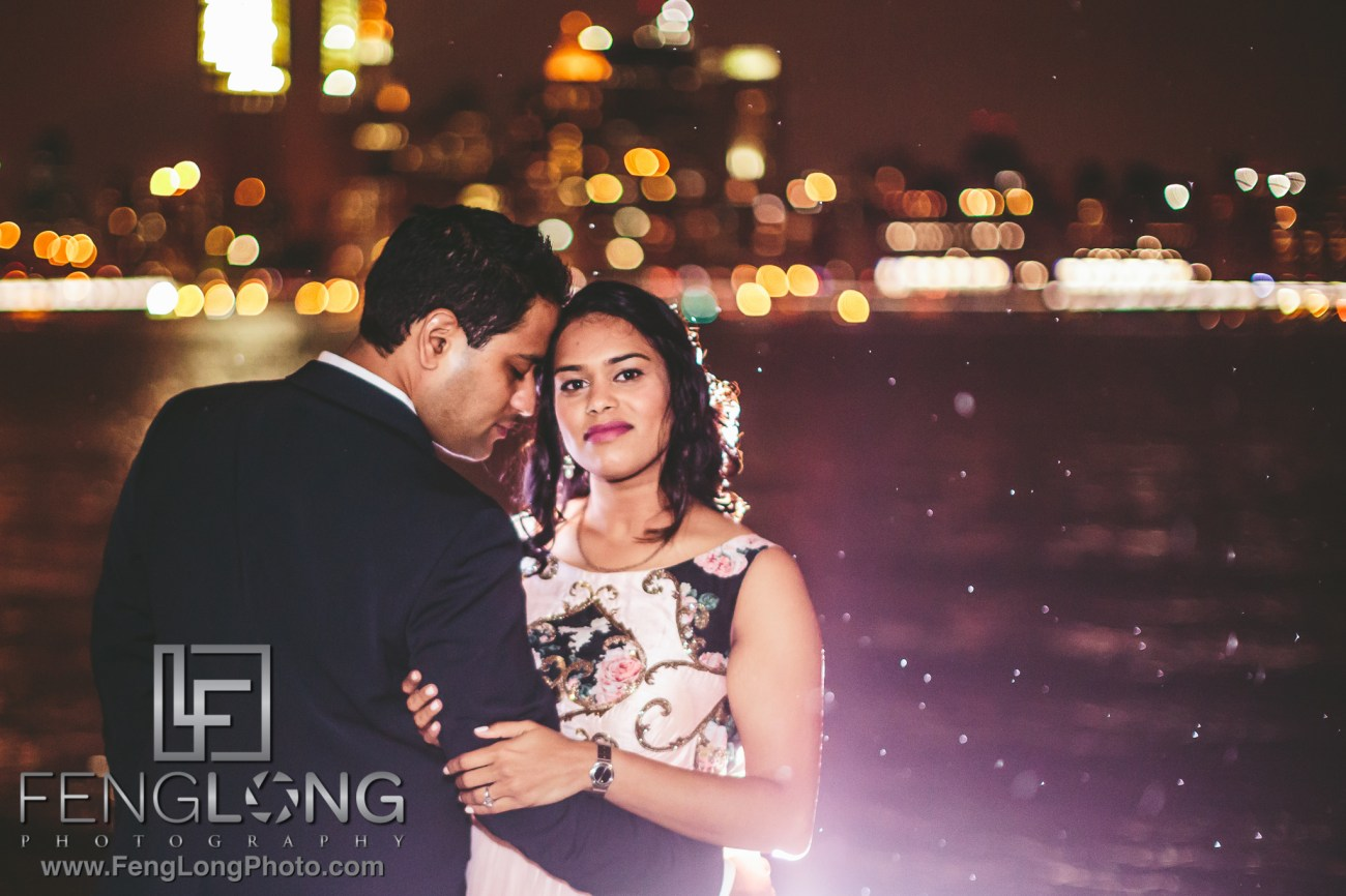 New York City engagement at Brooklyn Bridge Park for Indian Wedding